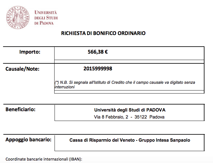 pagamento taxa universitária italia