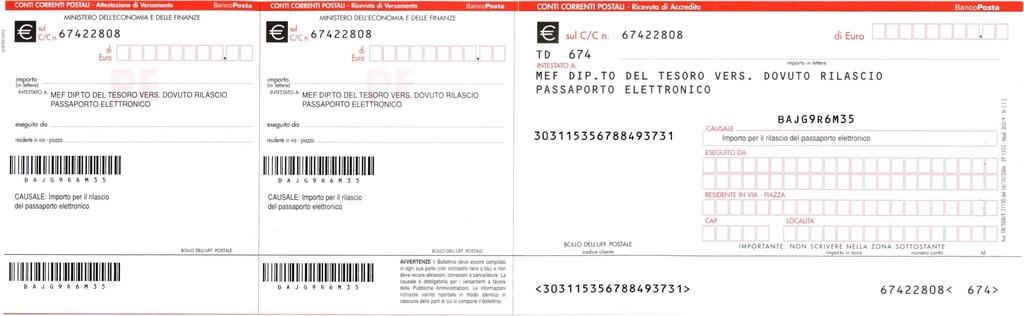 bollettino postale passaporte italiano